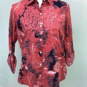 Tommy Hilfiger Paisley Button Front Top